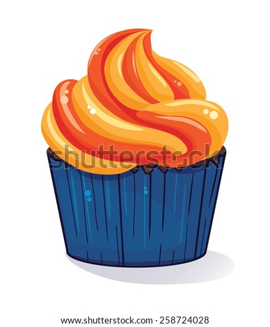 Cupcake or ice cream isolated on white - stock vector