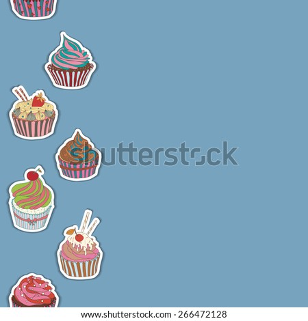Cupcake pattern border. Seamless Sweet food texture. Use as a pattern fill