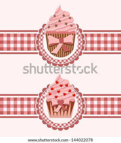 Cupcake ribbon - stock vector