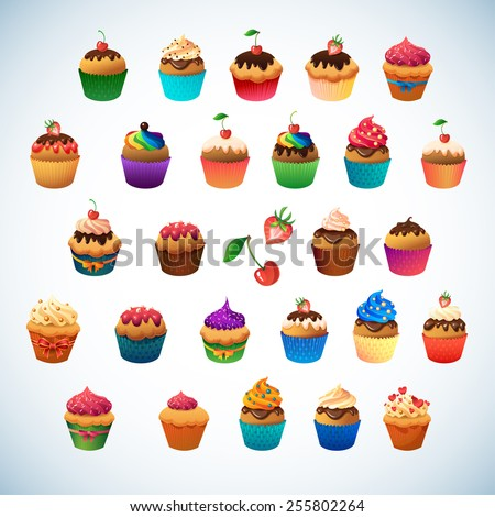 Cupcake set for sweet lovely menu design. Chocolate and vanilla desserts with berry and icing. Bows and ribbons decorate cupcakes - stock vector