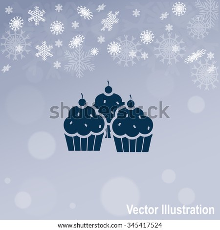 Cupcake vector icon. Candy bar objects - stock vector