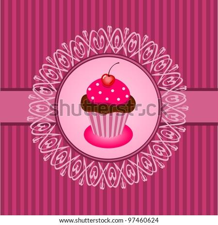Cupcake vintage - stock vector