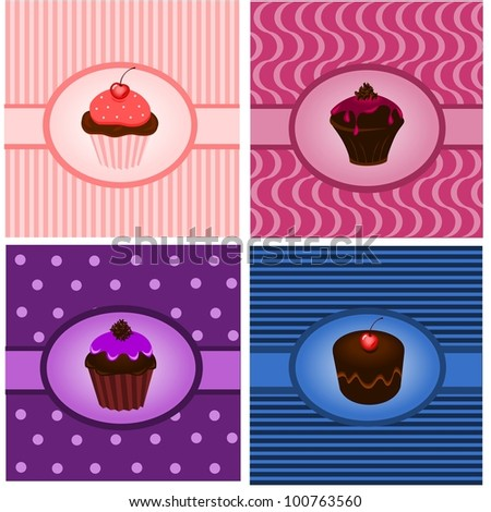 Cupcake vintages - stock vector