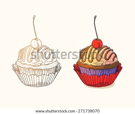 Cupcake with cherry on light background - stock vector
