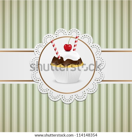 Cupcake with chocolate and white creme on lace and striped table cloth. - stock vector