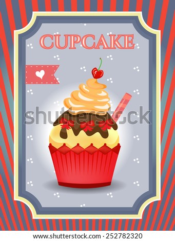 Cupcake with pink hearts on blue dotted background - stock vector