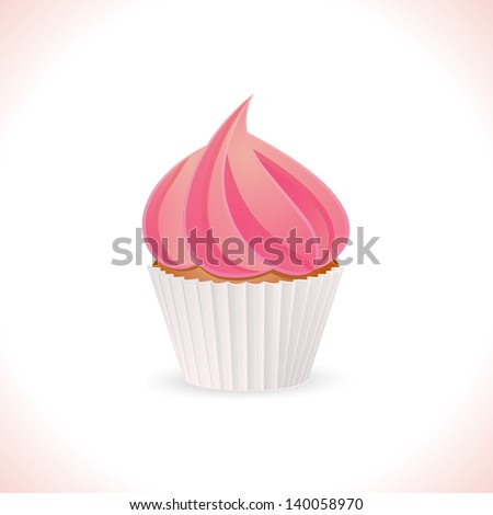 Cupcake with Pink Icing in a White Case - stock vector