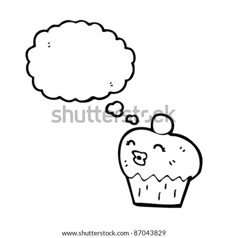 cupcake with thought bubble