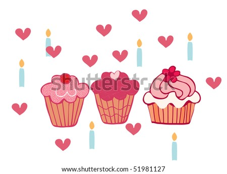 cupcakes and candles - stock vector