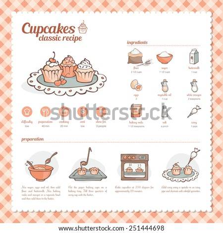 Cupcakes and muffins classic hand drawn recipe with ingredients, preparation and icons set - stock vector