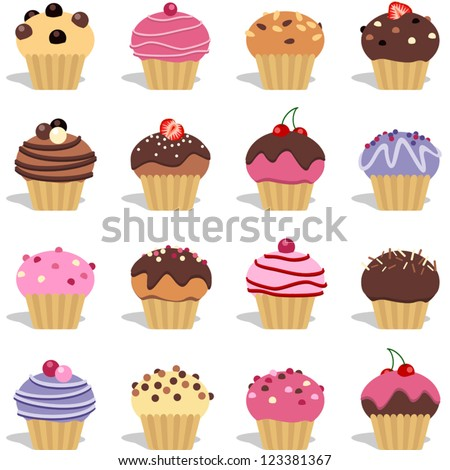 Cupcakes and muffins different flavors and colors
