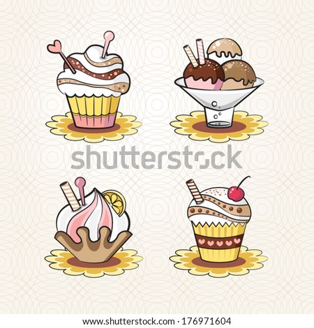 cupcakes beige chocolate collection - stock vector