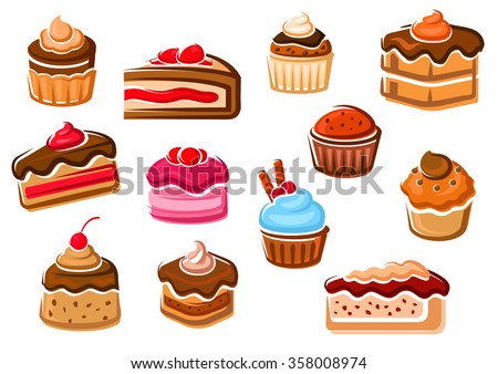 Cupcakes, chocolate tiered cakes, fruity dessert, berry pie, cheesecake and caramel pudding, decorated by whipped cream, chocolate glaze, fresh fruits and wafer rolls. Pastry, bakery and confectionery - stock vector