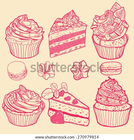 Cupcakes freehand draw set