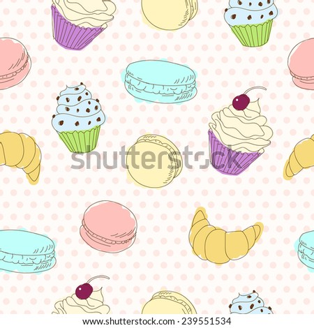 Cupcakes, macaroons and croissant seamless vector pattern on polka dot background. Funny doodle sketch in pastel colors. - stock vector