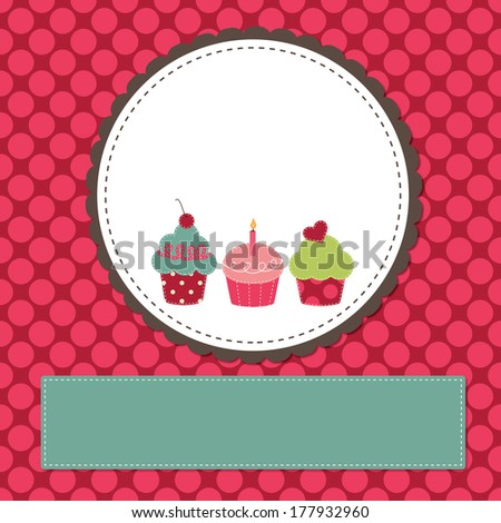 Cupcakes on a retro template copy space for text and scrapboooking - stock vector