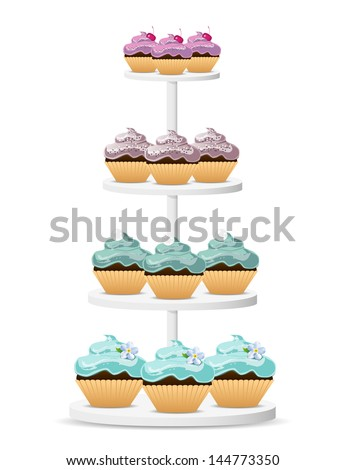 Cupcakes on a white stand. EPS10 vector. - stock vector