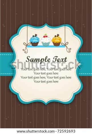 Cupcakes on the shelf-Blue Frame - stock vector