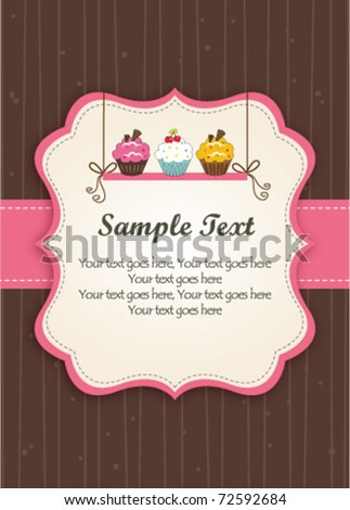 Cupcakes on the shelf-Pink Frame - stock vector