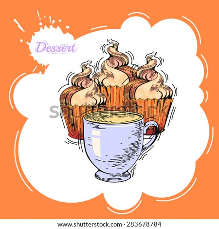 Cupcakes. Poster in vintage style. Bakery advertisement design template. Baking the best pastry food poster template with cupcakes and coffee vector illustration - stock vector