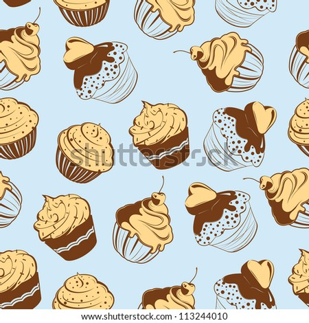 Cupcakes Seamless Pattern - stock vector