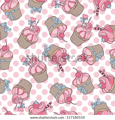Cupcakes - seamless pattern - stock vector