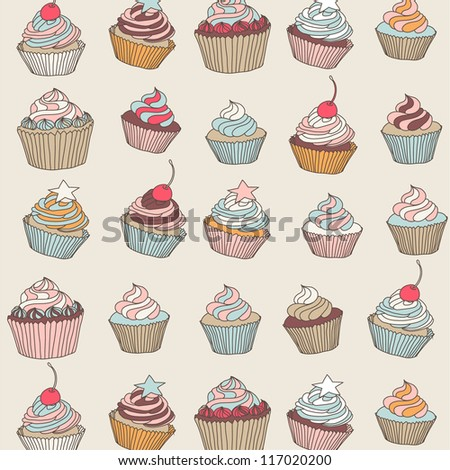 Cupcakes sweets cartoon vector pattern hand drawn on beige background - stock vector