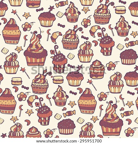 Cupcakes sweets seamless doodle vector pattern hand drawn.