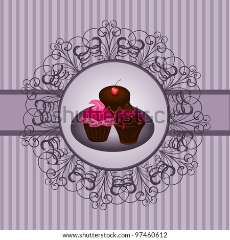 Cupcakes vintage - stock vector