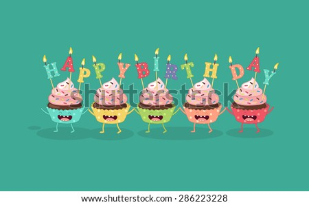 Cupcakes with a candle Happy Birthday. Comic characters. Vector cartoon. - stock vector