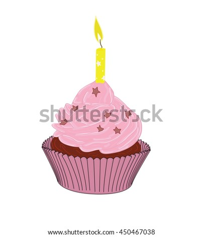 cupcakes with a candle. vector illustration - stock vector