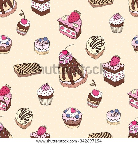 Cupcakes. Yummy colorful cute background. Hand drawn pattern. Seamless vector  illustration.