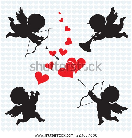 Cupid angels. Silhouette of Cupids. Valentines day. - stock vector