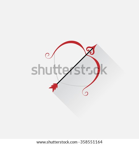 cupid arrow Bow with arrow icon. Valentine weapon sign. Linear icons on white background. Vector
