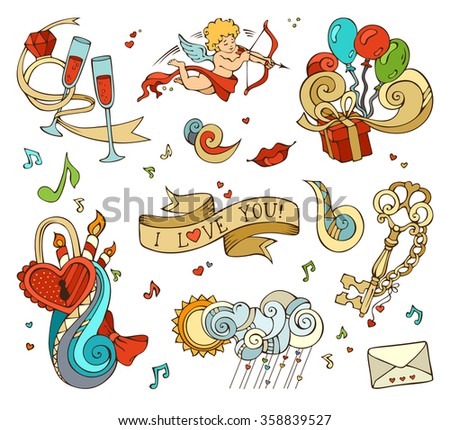 Cupid, balloons, music notes, clouds, sun, key and lock, chain, kiss,  letter, ribbon, ring, glass of wine, swirls.