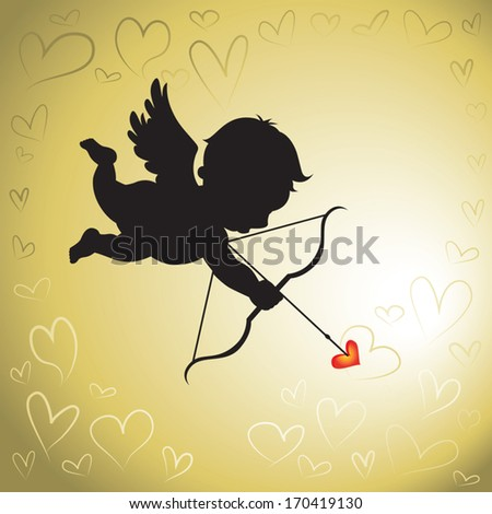 Cupid love. Vector illustration of the cupid silhouette and artistic hearts background.  - stock vector