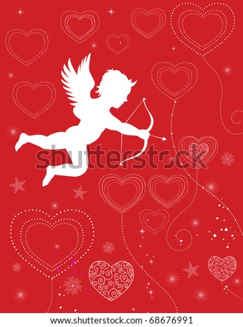 Cupid shooting valentine hearts floating on a red background - stock vector
