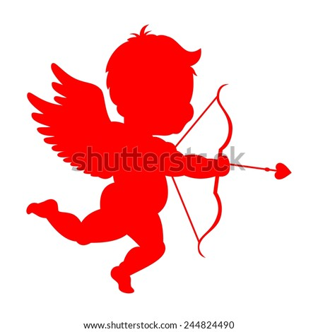 Cupid silhouette - stock vector