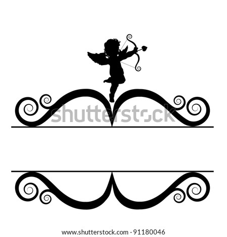 Cupid Silhouette Frame EPS 8 vector, grouped for easy editing. - stock vector