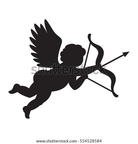 Cupid - symbol of love. Valentines day clip art. Angel of love silhouette. Vector illustration isolated on white.