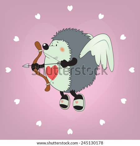 Cupid the hedgehog.Funny,cute looking Valentine's day illustration.clock pattern - stock vector