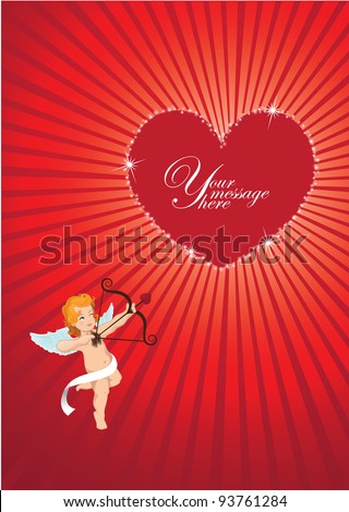 Cupid Valentine's Day Heart Background EPS 8 vector, grouped for easy editing. No open shapes or paths. - stock vector