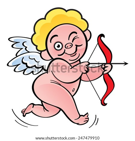 Cupid - Valentines Day angel archer with bow and arrow - stock vector