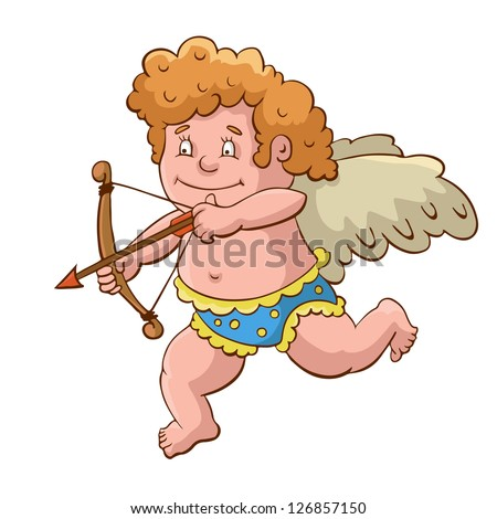 Cupid with arch cartoon. Vector illustration