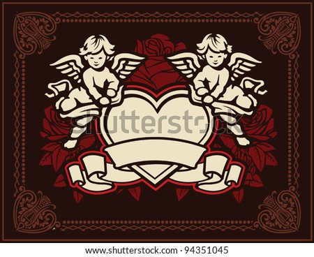 Cupids and Roses - stock vector