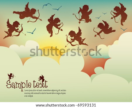 cupids flying in the sunset - stock vector