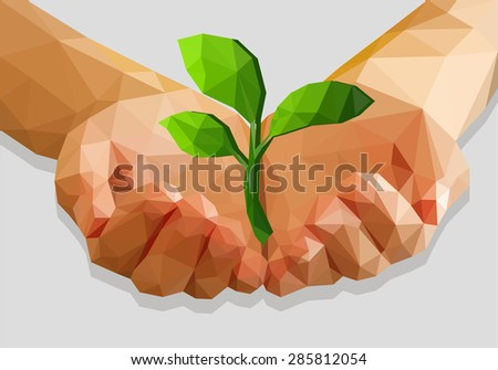 cupped hands keep green plant isolated ecology polygonal low-poly - stock vector