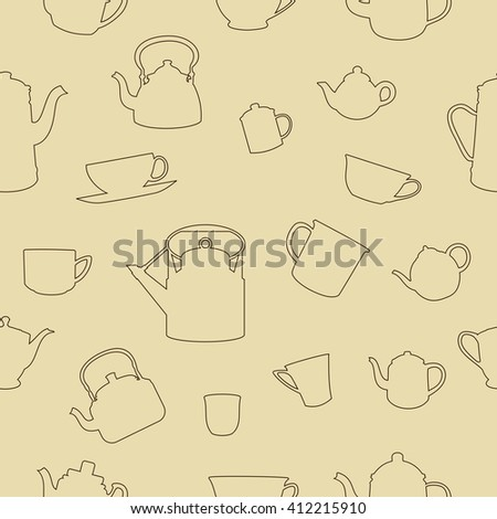 Cups and Pots Seamless Pattern - stock vector