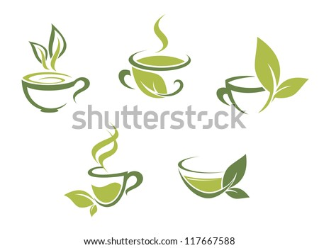 Cups of fresh tea and green leaves, such a template. Jpeg version also available in gallery - stock vector