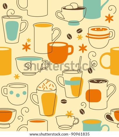 Cups seamless pattern in retro style - stock vector